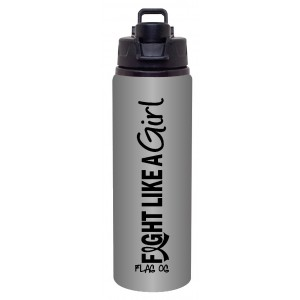 Fight Like a Girl Aluminum Sports Bottle - Graphite