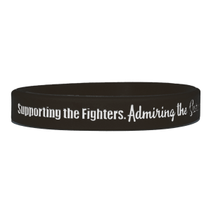"""""""Supporting Admiring Honoring"""" Ink-Filled Silicone Wristband - Black"""