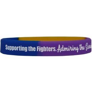 """""""Supporting Admiring Honoring"""" Silicone Wristband - Blue, Purple, & Marigold"""