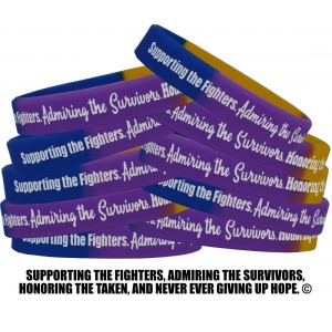 """""""Supporting Admiring Honoring"""" Silicone Wristband - Blue, Purple, & Marigold (10 Pack)"""