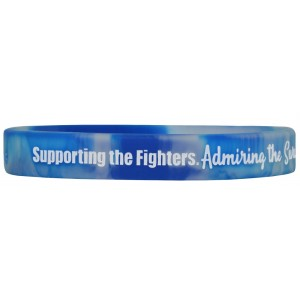 """Supporting Admiring Honoring"" Ink-Filled Silicone Wristband - Blue, White"