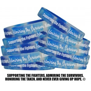 """Supporting Admiring Honoring"" Silicone Wristband - Blue, White"