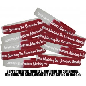 """Supporting Admiring Honoring"" Silicone Wristband - Burgundy & White"