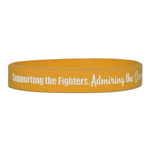 """Supporting Admiring Honoring"" Ink-Filled Silicone Wristband - Gold"