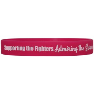 """Supporting Admiring Honoring"" Ink-Filled Silicone Wristband - Hot Pink"