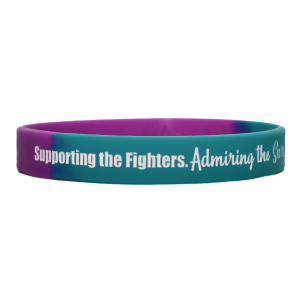 """""""Supporting Admiring Honoring"""" Ink-Filled Silicone Wristband - Teal, Purple"""