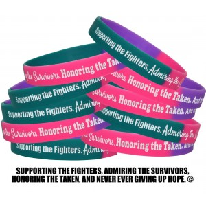 """Supporting Admiring Honoring"" Silicone Wristband - Teal, Purple, Pink"