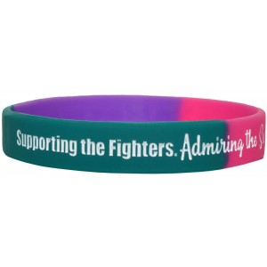 """Supporting Admiring Honoring"" Ink-Filled Silicone Wristband - Teal, Purple, Pink"