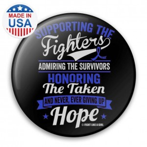 """Supporting Admiring Honoring"""" Breast Cancer Button - Black w/ Blue ("""