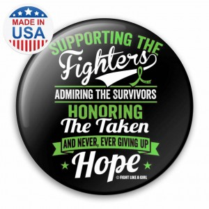 """""""Supporting Admiring Honoring"""" Breast Cancer Button - Black w/ Lime"""