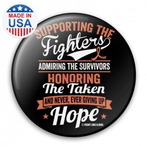 """""""Supporting Admiring Honoring"""" Breast Cancer Button - Black w/ Orange"""