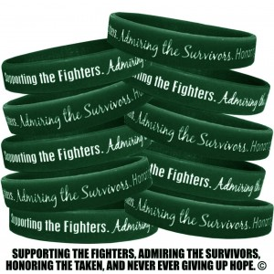"""Supporting Admiring Honoring"" Ink-Filled Silicone Wristband - Emerald Green"