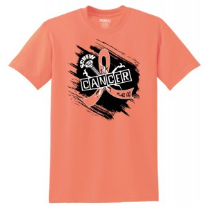 Screw Cancer T-Shirt in Peach For Uterine and Endometrial Cancer