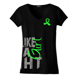 Fight Like A Girl V-Neck T-Shirts for Non-Hodgkin's Lymphoma, Lyme Disease, Muscular Dystrophy, General Lymphoma