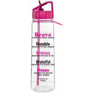 Inspirational Message Quote Water Bottle With Time Marker by Fight Like a Girl