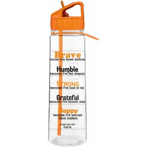 "Fight Like A Girl Brave"" SlimKim II Water Bottle - Orange"