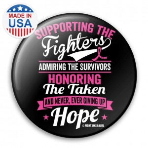 Supporting Admiring Honoring Buttons for Breast Cancer