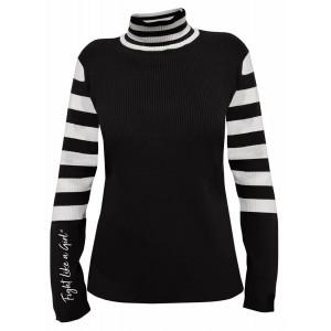 """Fight Like a Girl Script"" Ladies Sweater -Black"