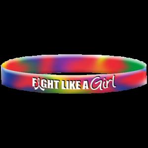 Fight Like a Girl Tie-Dye Wristband Bracelets