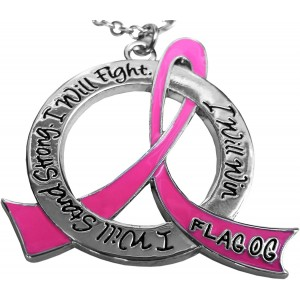 """""""I Will Stand Strong, I Will Fight, I Will Win"""" Breast Cancer Warrior Necklace"""