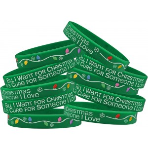 """All I Want for Christmas"" Silicone Wristband - Green (10 Pack)"