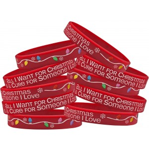 """All I Want for Christmas"" Silicone Wristband - Red (10 Pack)"