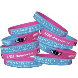 """""""Heaven Needed a Little Angel"""" SIDS Awareness Wristband - Light Blue & Pink"""