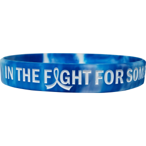 """In The Fight"" Ink-Filled Silicone Wristband Bracelet - Blue, White"