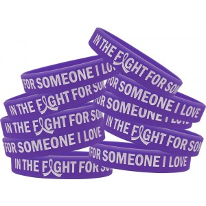 """In The Fight"" Ink-Filled Silicone Wristband - Purple (10 Pack)"