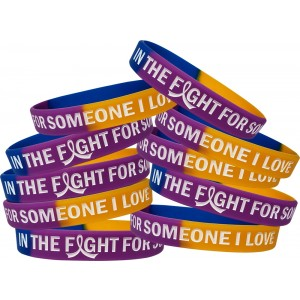 """In The Fight"" Bladder Cancer Silicone Wristband - Blue, Purple, Marigold"