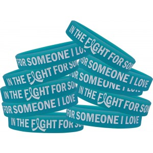 """In The Fight"" Ink-Filled Silicone Wristband - Teal"