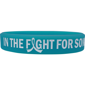 """In The Fight"" Ink-Filled Silicone Wristband Bracelet - Teal"