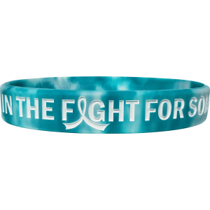 """In The Fight"" Ink-Filled Silicone Wristband Bracelet - Teal, White"