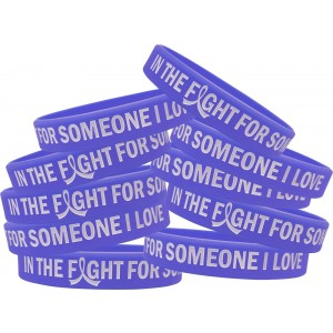"""In the Fight"" Silicone Wristband Bracelet - Violet"