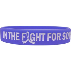 """In The Fight"" Ink-Filled Silicone Wristband Bracelet - Violet"