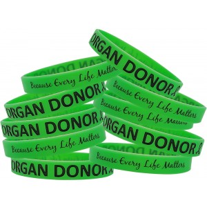Organ Donor Silicone Wristband Bracelets 10-Pack