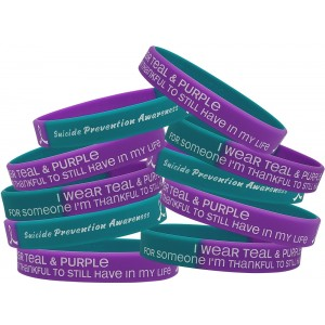 """""""Thankful to Still Have"""" Suicide Awareness Silicone Wristband - Teal & Purple Segmented (10 Pack)"""