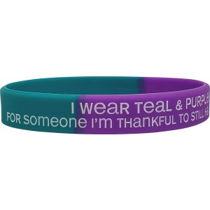 """""""Thankful to Still Have"""" Suicide Awareness Silicone Wristband - Teal & Purple Segmented"""