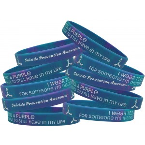 Thankful to Still Have in My Life Suicide Awareness Wristband Teal & Purple Swirl 10 Pack