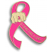 Breast Cancer Fight Like a Girl Lapel Pin - Hot Pink Ribbon with Fist